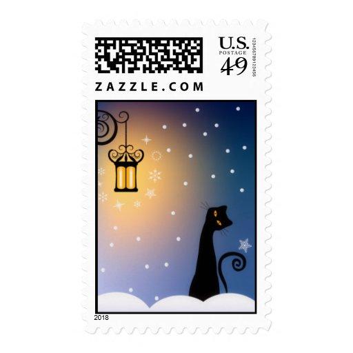 Cat on Winter Night Postage Stamp