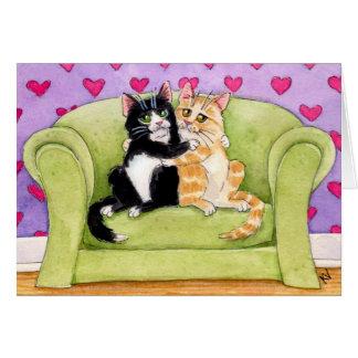 Cat Opposites Attract Valentine's card
