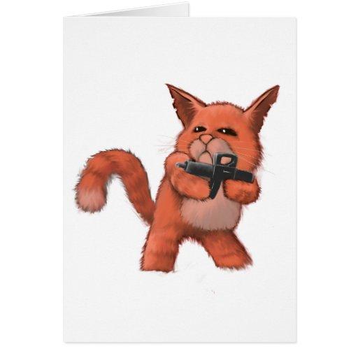 Cat_orange de metralleta tarjeta de felicitación