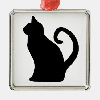 Cat. Square Metal Christmas Ornament