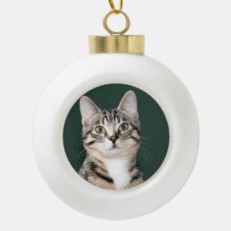 cat ceramic ball christmas ornament