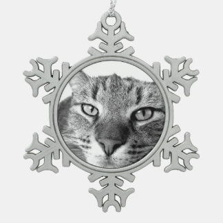 cat snowflake pewter christmas ornament