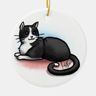 Cat Ornament - Black and White - Kitty Lee
