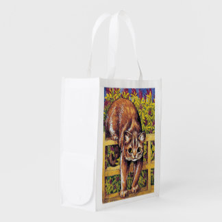 Cat over Fence, Louis Wain Reusable Grocery Bag