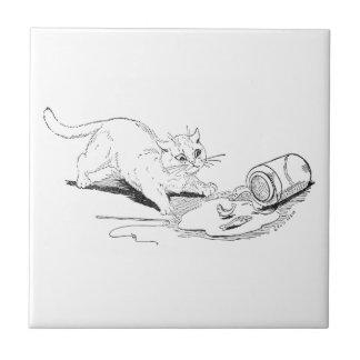 Cat Overturns Fish Jar Tile