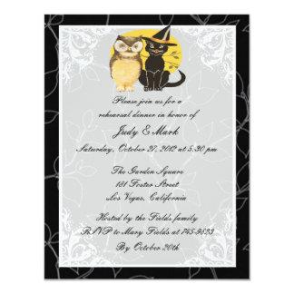 "Cat & Owl Halloween Rehearsal Dinner Invitation 4.25"" X 5.5"" Invitation Card"