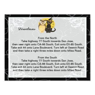 Cat & Owl Halloween Wedding Direction Cards