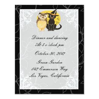 Cat & Owl Halloween Wedding Reception Card
