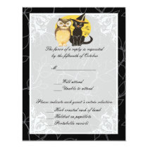 Cat & Owl Halloween Wedding Response Card