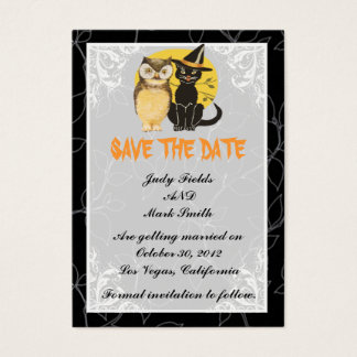 Cat & Owl Halloween Wedding Save The Date Card