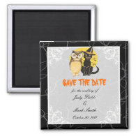 Cat & Owl Halloween Wedding Save The Date Magnet
