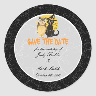Cat Owl Halloween Wedding Save The Date Stickers