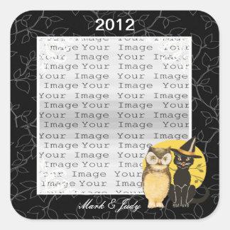 Cat & Owl Halloween Wedding Stickers