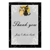 Cat & Owl Halloween Wedding Thank You Card