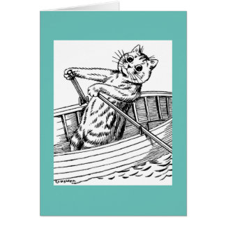 Cat paddling the boat, Louis Wain Card