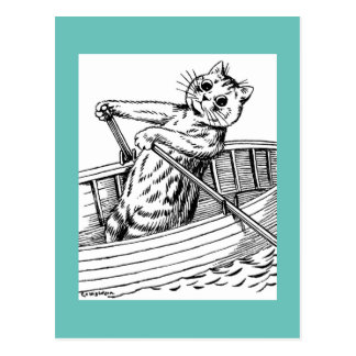 Cat paddling the boat, Louis Wain Postcard