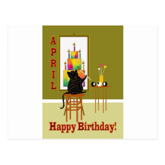 Cat Painting Birthday Cake APRIL Postcard