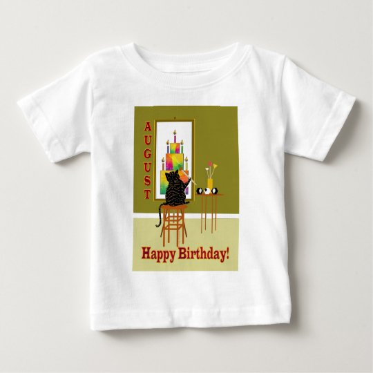 Cat Painting Birthday Cake AUGUST Baby T-Shirt