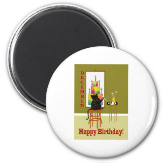 Cat Painting Birthday Cake DECEMBER Refrigerator Magnets