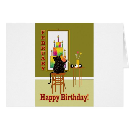 Cat Painting Birthday Cake FEBRUARY Cards
