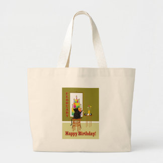 Cat Painting Birthday Cake FEBRUARY Large Tote Bag