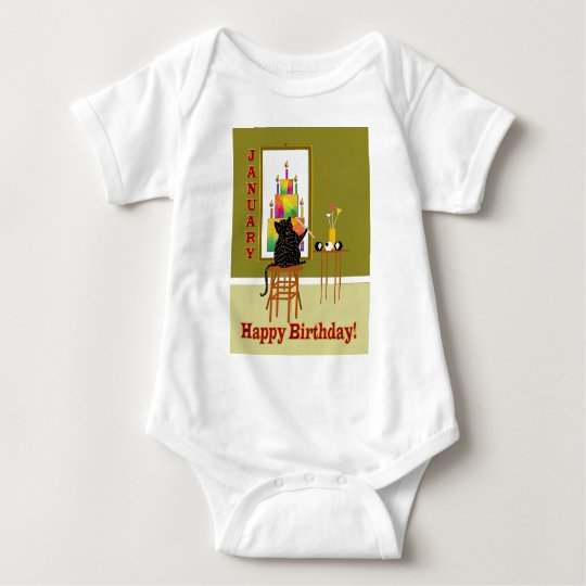Cat Painting Birthday Cake January Baby Bodysuit