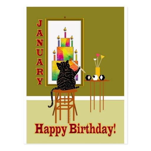 Cat Painting Birthday Cake January Post Card