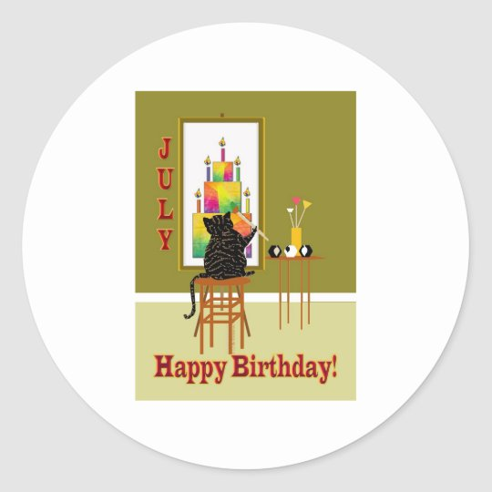 Cat Painting Birthday Cake JULY Classic Round Sticker
