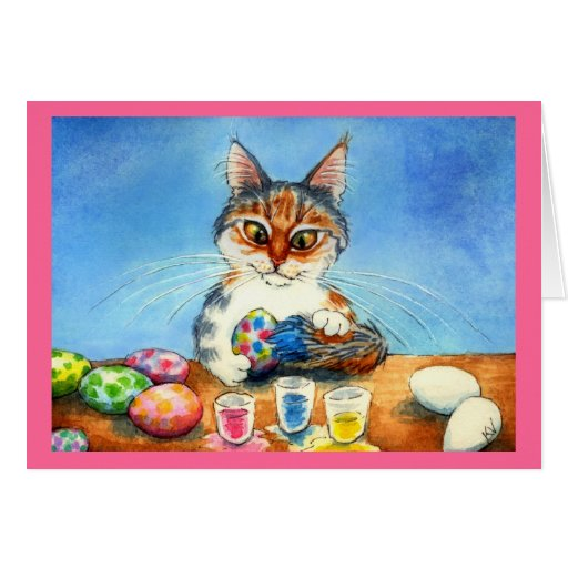 Cat painting Easter eggs with tail Greeting Cards