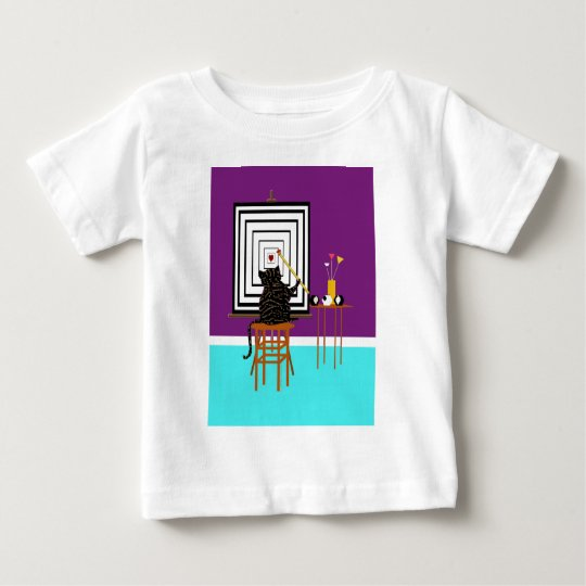 Cat Painting Illusion Heart Baby T-Shirt