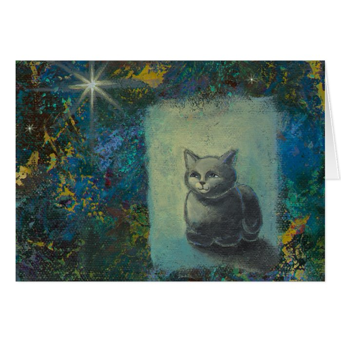 Cat painting - Oh Wise and Excellent Kitty art Card