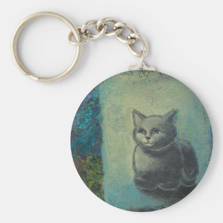 Cat painting - Oh Wise and Excellent Kitty art Keychain