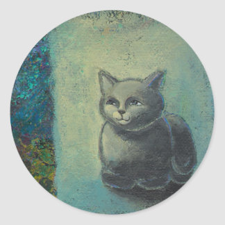 Cat painting - Oh Wise and Excellent Kitty art Sticker