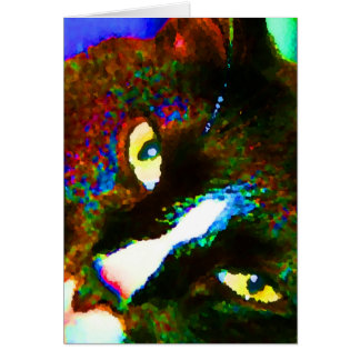 cat painting tuxedo colorful kitty animal design card