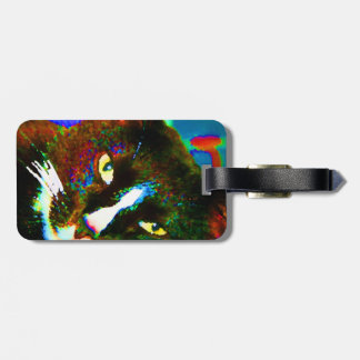 cat painting tuxedo colorful kitty animal design luggage tag