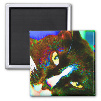 cat painting tuxedo colorful kitty animal design fridge magnet