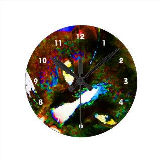 cat painting tuxedo colorful kitty animal design round clock
