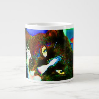 cat painting tuxedo colorful kitty animal design jumbo mug