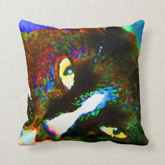 cat painting tuxedo colorful kitty animal design throw pillow