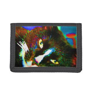 cat painting tuxedo colorful kitty animal design trifold wallet