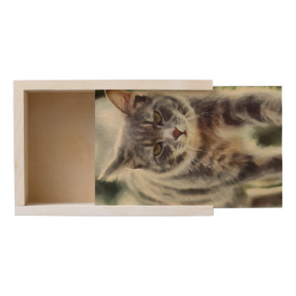 Cat painting wooden keepsake box