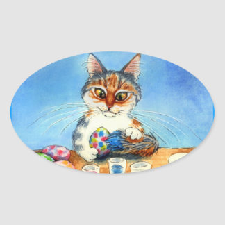 Cat paints Easter eggs with tail oval sticker