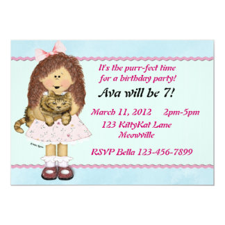 Cat Party 5x7 Paper Invitation Card