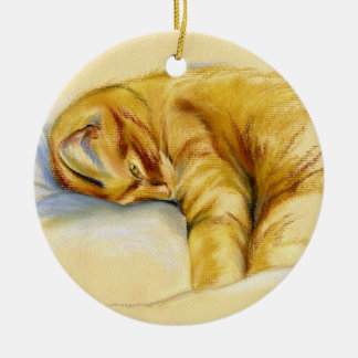 Cat Pastel - Orange Tabby Relaxed Pose Ceramic Ornament