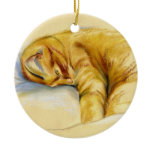 Cat Pastel - Orange Tabby Relaxed Pose Double-Sided Ceramic Round Christmas Ornament