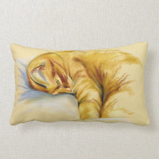 Cat Pastel - Orange Tabby Relaxed Pose Lumbar Pillow