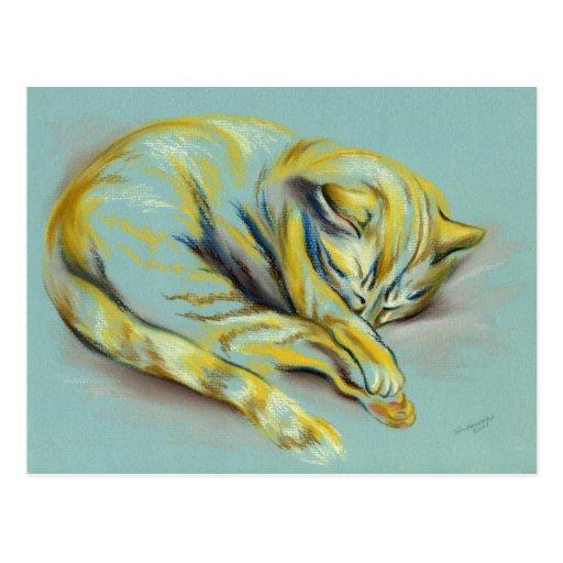 Cat Pastel - Sleeping Tabby Kitten Postcard
