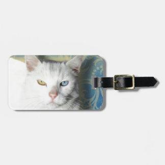 Cat - Patrick the White Cat Bag Tags