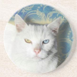 Cat - Patrick the White Cat Sandstone Coaster