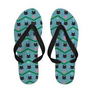 Cat Pattern Flip-Flops